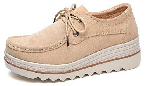 LakeRom Zapatos de mujer para mocasines con plataforma deslizante Zapatos Zapatos de plataforma de gamuza para mujer