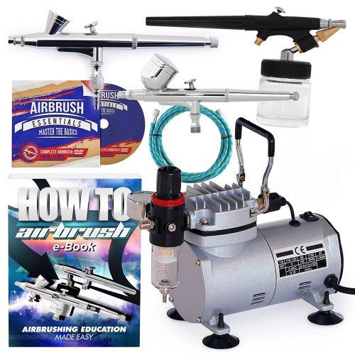 PointZero Airbrush Kit de aerografía de doble acción con 3 pistolas