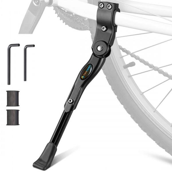5.Kickstand de bicicleta TOPCABIN Soporte de soporte de bicicleta de aleación de aluminio ajustable Soporte de soporte de bicicleta lateral para 22