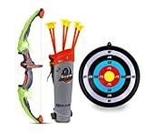 GoBroBrand Juego de arco y flechas para niños - Juego de juguete de tiro con arco con iluminación verde - Incluye 6 flechas de ventosa, objetivo y unidad - para niños y niñas de 3 a 12 años