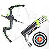Arco arco y flechas SainSmart Jr., tiro con arco iluminado para niños juego de caza al aire libre con 5 flechas de ventosa duraderas, arco luminoso y dispositivo de mira, verde