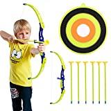 Juego de tiro con arco Conthfut, juego de juguete, arco y flechas verdes, juego de caza al aire libre con ventosa de 6 flechas, objetivo para niños y niñas