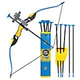 Goldboy - Juego de arco y flechas para niños, arco y flechas de tiro con arco para niños, juego de tiro con arco y flechas para niños, juego divertido de tiro con arco con 12 flechas de ventosa duraderas (azul)