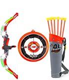 arco y flechas de juguete para niños con luces de flash LED - Arco de tiro con arco con ventosa de 6 flechas, objetivo y unidad - Ejercicio de juguete al aire libre para niños mayores de 6 años, rojo