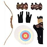 UTeCiA 30 piezas de tiro con arco total para niños y principiantes - Paquete de flechas de punta de goma de seguridad, arco de madera hecho a mano, filtro de tela, protector de mano, guante de dedos, hojas de objetivo - Juguete de tiro para exteriores e interiores
