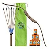 Serie de tiro con arco para niños - Arco, flechas y objetivos - Juguetes de caza de madera para niños y niñas (individual)