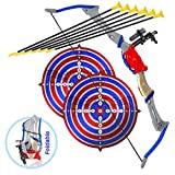 Juguete de arco y flechas para niños, juego de tiro con arco al aire libre para niños y niñas de 6 a 12 años, diseño plegable con 2 objetivos y ventosa de 6 flechas, ideal para juegos de caza y deportes y juegos de aventura