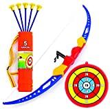 Juego de flechas y juguetes para niños Flecha - Juguete de tiro con arco con arco recurrente con 5 flechas de ventosa, soporte de objetivo y cola - Juguete para jugar al aire libre Ejercicio de caza seguro para niños mayores de 6 años