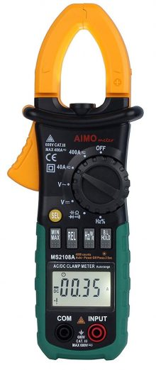 AIMO MS2108A Medidor de pinza digital Auto Range 400 AC DC Hz Probador de corriente