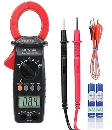 Medidor de pinza Crenova 6016A 600A Clasificación automática Ohmios Voltios Amp Diodo Medición de temperatura de continuidad