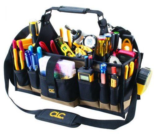 CLC Custom Leathercraft 1530 Bolsas de herramientas para electricista eléctrico de 43 bolsillos