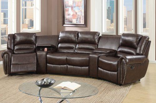 Juego de sofás reciclados de cuero marrón de 5 uds.