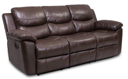 JUNTOSO Reclinable manual Sofá reclinable de 3 asientos Sofá Salón Sala de estar Air Leather - Chocolate