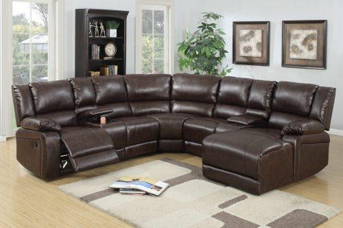 El juego de sofá reversible encuadernado de cuero marrón de 5 piezas incluye chaise de empuje hacia atrás
