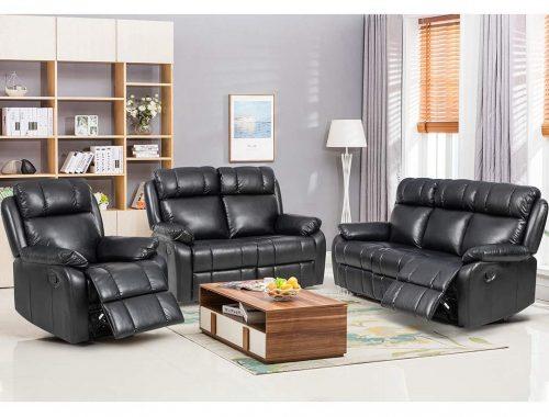 Juego de sofás reclinables BestMassage 3 sofás Sofá de dos plazas Sofá reclinable de cuero Sofá reclinable Silla manual de reciclaje 3 asientos para sala de estar