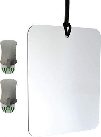 Cozylady Espejo de ducha antivaho para afeitarse, pequeño espejo de tocador de nanómetro, espejo de maquillaje con cadena de metal, espejos de armario para espejo, espejo de pared, espejo de baño de pared antivaho