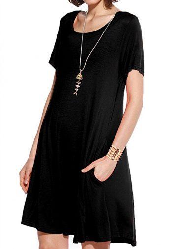 JollieLovin Vestido de camiseta con bolsillos para mujer Vestido alquilado de camiseta