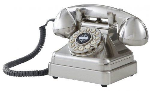 Crosley CR62-BC Kettle Classic Desktop Phone con tecnología de botón pulsador, cromado cepillado