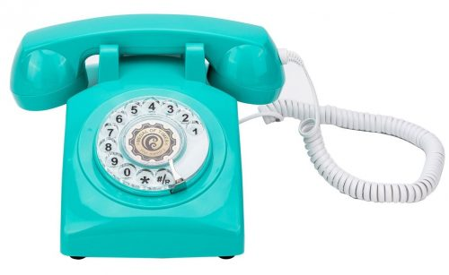 Teléfono con cable vintage estilo dial giratorio estilo años 60