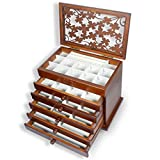 Caja de joyería de madera genuina Kendal de actualización grande, 6 juegos con 5 cajones, caja de almacenamiento organizadora de joyas para mujeres, color oscuro