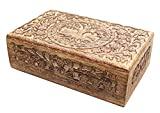 Caja de madera tallada a mano del árbol de alimentación multi - almacenamiento para uso general de la custodia