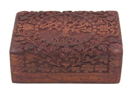 Caja de almacenamiento de madera para árbol de vida manual