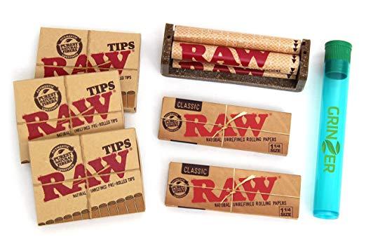 Paquetes RAW KIT 2 rollos de papel 4 puntas pre-enrolladas Paquete 1 máquina de liar cigarrillos de cáñamo y 1 tubo