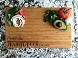 Tabla de cortar de cocina personalizada por nombre, tablas de cortar de madera para el hogar (rectángulo de bambú de un solo tono de 11 x 17, diseño de Hamilton)