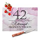 Regalos de jubilación - Letreros de cocina personalizados - 12 colores de mármol, 8 x 10 pm - Tabla de cortar de vidrio - Regalo de jubilación feliz para mujeres, Regalo de amigo de jubilación, Regalos personalizados, Regalo de amigo de jubilación