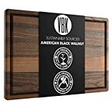 Tabla de cortar de madera de nogal extra grande con cocinas Virginia Boys - Bloque de encimera para cortar y tallar madera dura de 18 x 24 con ranura para goteo de jugo