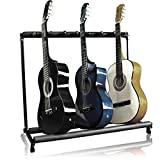 Best Choice Multi-Guitar Stand Products, estante de exhibición de almacenamiento plegable para 7 instrumentos - Negro