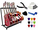 Vizcaya - Soporte de guitarra plegable para guitarra eléctrica acústica, soporte de bajo, banda de escenario, incluye púas, soporte de púas, cuerda, pasadores de puente, sillín de tuerca, adhesivo de corte de cuerda - 7 soportes