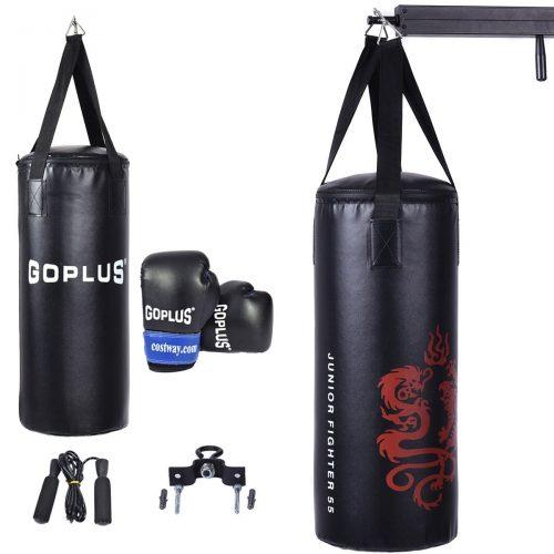 Gymax Juego de saco de boxeo con saco de boxeo, guantes