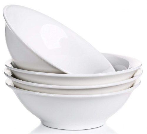 Lifver - Tazón de porcelana para sopa / fideos / cereal de 42 onzas, blanco elegante, juego de 4 tazones para servir