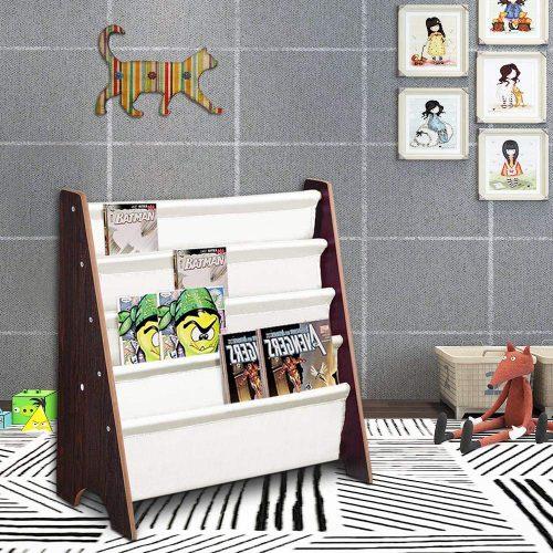 Yescom Wood Kids Book Shelf Sling Storage Rack Organizador Estante para libros Soporte de exhibición Nogal