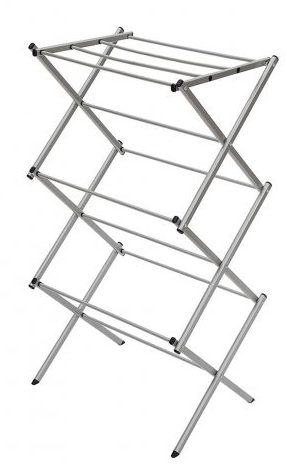 StorageManiac - Tendedero de acero compacto, plegable, anticorrosivo, de 3 niveles