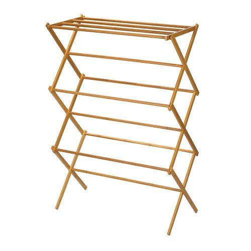 Household Essentials 6524 Tendedero de madera plegable alto para interiores