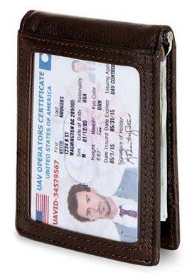 SERMAN BRANDS RFID Bloqueo Delgado Bifold Delantero Minimalista de Cuero Genuino