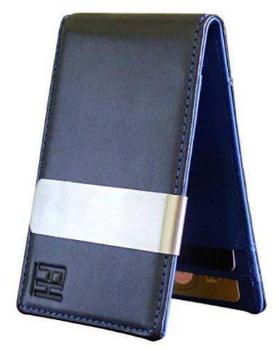 Billetera F&H minimalista delgada de cuero con clip para billetes con capacidad para 8 tarjetas