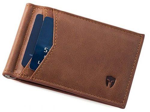 RFID Bloqueo Minimalista Delgado Bolsillo Frontal Billetera-Carteras con Clips de Dinero