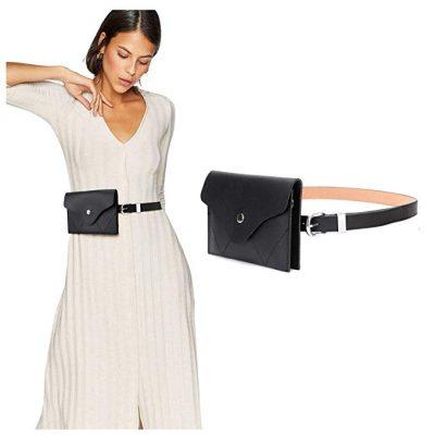 JASGOOD Riñonera con cinturón de cuero para mujer con cinturón extraíble con borla en la cintura Bolsos con cinturón de moda