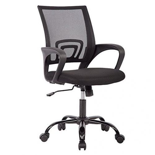 Silla ergonómica para tareas con respaldo medio, escritorio de oficina con malla para ordenador y base de metal