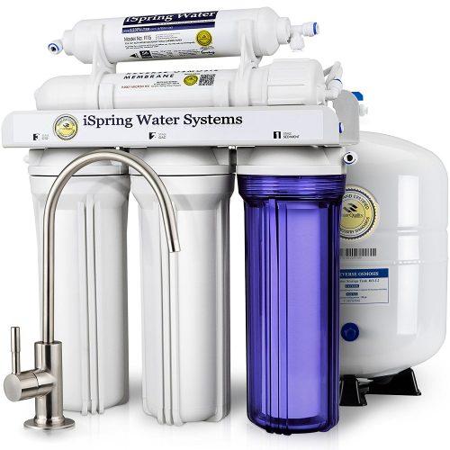 iSpring RCC7 Sistema de filtración de agua potable de ósmosis inversa de 5 etapas de alta capacidad debajo del fregadero