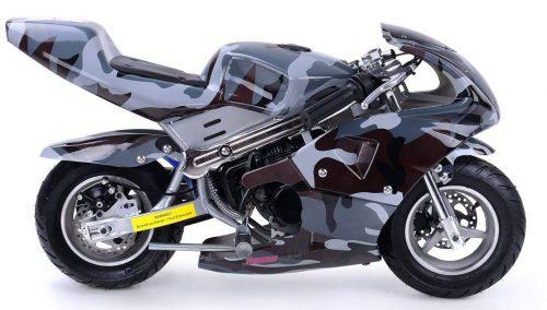 Rosso Motors Motocicleta para niños cc Gas Mini Pocket Bike Ghost Negro