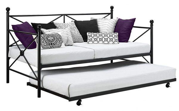 DHP - Combo nido enrollable con sofá cama de metal moderno y robusto, diseño entrecruzado, tamaño doble