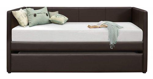 Homelegance Adra Diván totalmente tapizado con nido enrollable de vinilo bi-fundido Twin, camas nido marrón oscuro
