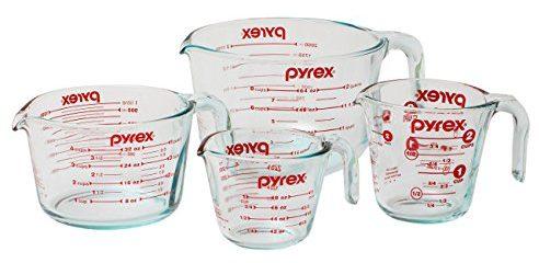 Juego de jarras medidoras de cristal de 4 piezas Pyrex con jarras medidoras de cristal grandes de 8 jarras