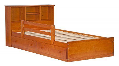 Palace Imports 2434 Cama de almacenamiento con plataforma de 100% madera maciza Kansas Mate