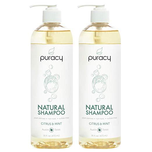 Puracy Natural Daily Shampoo, nueva fórmula sin sulfatos, todo tipo de cabello, 16 onzas