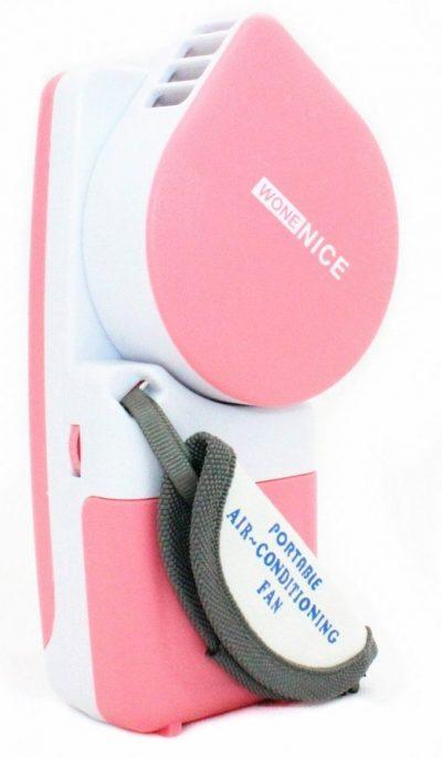 WoneNice, pequeño ventilador portátil y mini aire acondicionado, funciona con baterías o USB, rosa